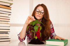 Giovane studente attraente di botanica con seedlnng ed i libri Fotografia Stock Libera da Diritti