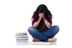 Giovane studente con i libri isolati Fotografie Stock Libere da Diritti