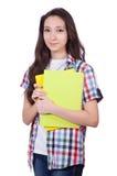 Giovane studente con i libri isolati Fotografia Stock