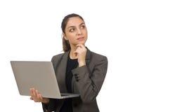 Giovane studente con il computer portatile su bianco Immagini Stock