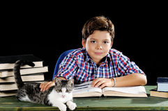 Giovane studente con il gatto Fotografia Stock