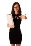Giovane studente con una cartella in sue mani Immagini Stock