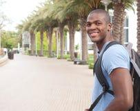 Giovane studente di college dell'afroamericano Fotografie Stock Libere da Diritti