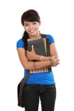 Giovane studente di college femminile su bianco Fotografia Stock Libera da Diritti