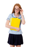 Giovane studente diligente con i manuali isolati sopra Fotografia Stock Libera da Diritti