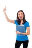 Giovane studente emozionante che solleva la sua mano Fotografia Stock