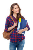 Giovane studente felice con i libri isolati Immagini Stock