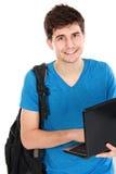 Giovane studente maschio con il computer portatile Immagini Stock Libere da Diritti