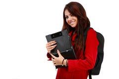 Giovane studente pronto per la scuola isolata su bianco Fotografia Stock