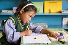 Giovane studente tibetano nel villaggio del ` s dei bambini del ` s SOS di Leh, Ladakh Fotografie Stock
