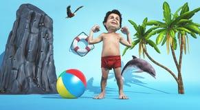 Giovane su una spiaggia tropicale da solo Immagini Stock