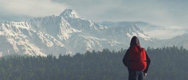 Giovane sulla montagna Fotografia Stock