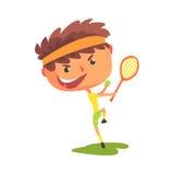 Giovane tennis con una racchetta nella sua illustrazione di vettore del fumetto della mano royalty illustrazione gratis