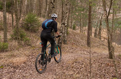 Giovane throughs di guida di un mountain bike il legno Fotografia Stock