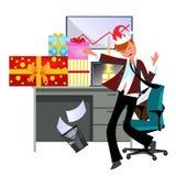 Giovane tipo allegro che balla nell'ufficio in vestito illustrazione di stock
