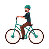 Giovane, tipo che guida bicicletta urbana, ciclante nel casco Fotografie Stock