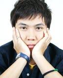 Giovane tirante asiatico freddo Fotografia Stock Libera da Diritti