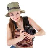 Giovane turista con la macchina fotografica immagini stock