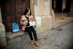 Giovane turista femminile Fotografia Stock Libera da Diritti