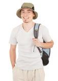 Giovane turista su bianco immagine stock libera da diritti
