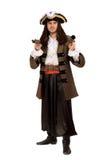 Giovane in un costume del pirata con la pistola Immagine Stock Libera da Diritti