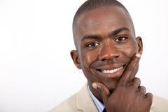 Giovane uomo africano di affari Fotografia Stock