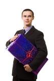 Giovane uomo bello con un regalo blu enorme Immagine Stock Libera da Diritti