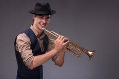 Giovane uomo bello di jazz Fotografia Stock Libera da Diritti