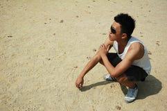 Giovane uomo cinese asiatico freddo Fotografia Stock