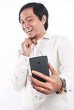 Giovane uomo d'affari asiatico felice Taking Selfie Photo Fotografie Stock
