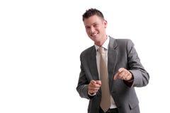 Giovane, uomo d'affari bello che indica in avanti immagine stock libera da diritti