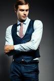 Giovane uomo d'affari bello elegante in un vestito Fotografia Stock Libera da Diritti