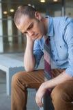 Giovane, uomo d'affari bello frustrato Fotografia Stock Libera da Diritti