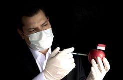 Giovane uomo d'affari che inietta i prodotti chimici in una mela con la bandiera indonesiana Fotografie Stock