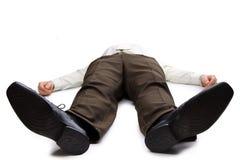 Giovane uomo d'affari che si trova sul pavimento Fotografia Stock