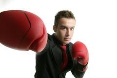Giovane uomo d'affari competitivo del pugile isolato Fotografie Stock Libere da Diritti