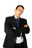 Giovane uomo d'affari con entrambe le braccia piegate fotografia stock libera da diritti