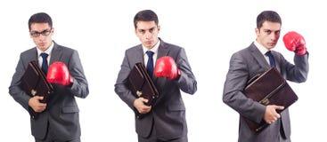 Giovane uomo d'affari con i guanti della scatola e della cartella isolati sul whi Fotografia Stock Libera da Diritti