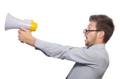 Giovane uomo d'affari con l'altoparlante Fotografia Stock Libera da Diritti