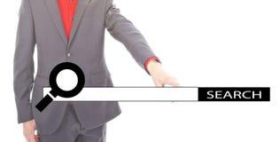 Giovane uomo d'affari con la barra di ricerca di Internet Immagini Stock