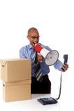 Giovane uomo d'affari dell'afroamericano, urlante Fotografia Stock Libera da Diritti