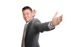 Giovane uomo d'affari emozionante fotografia stock libera da diritti