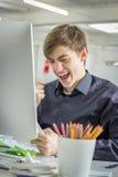 Giovane uomo d'affari felice Fotografie Stock