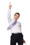 Giovane uomo d'affari felice isolato su bianco fotografia stock