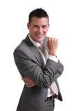 Giovane uomo d'affari isolato su priorità bassa bianca Fotografia Stock Libera da Diritti