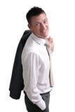 Giovane uomo d'affari isolato su priorità bassa bianca fotografia stock