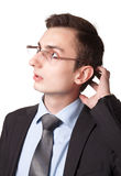 Giovane uomo d'affari nel pensiero di vetro Fotografia Stock Libera da Diritti