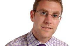 Giovane uomo d'affari in occhiali Fotografia Stock Libera da Diritti