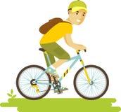Giovane uomo del cavaliere della bicicletta con la bici nello stile piano Fotografia Stock Libera da Diritti