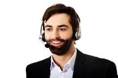 Giovane uomo della call center Fotografia Stock